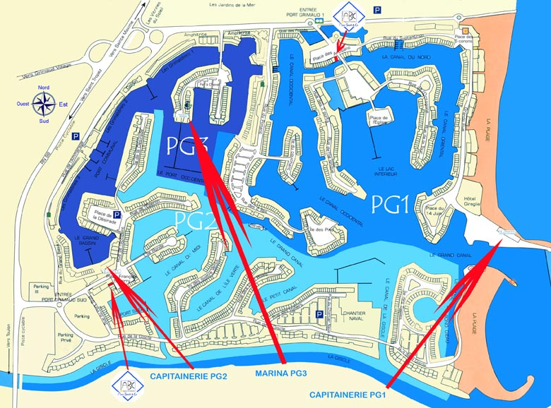 Plan des CAPITAINERIES de Port-Grimaud